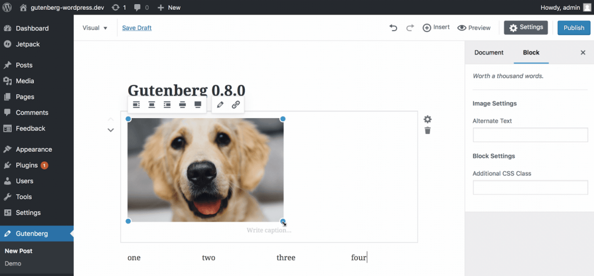 Gutenberg 0.8.0 Introduces 5 New Blocks: Categories, Text Columns, Shortcode, Audio, and Video